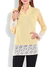 Yellow And White Polygeorgette Top - By