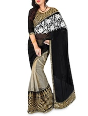 Beige And Black Embroidered Georgette Saree - By