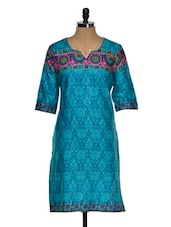 Multi Color Quarter Sleeve Geometric Print Kurta With A Hint Of Pink Green - Chitwan Mohan