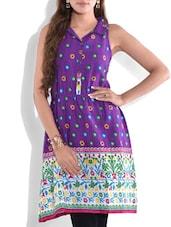 Purple Printed Sleeveless Cotton Kurti - By
