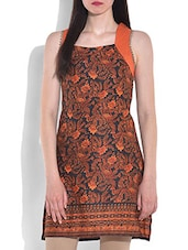 Orange Printed Sleeveless Cotton Kurti - By