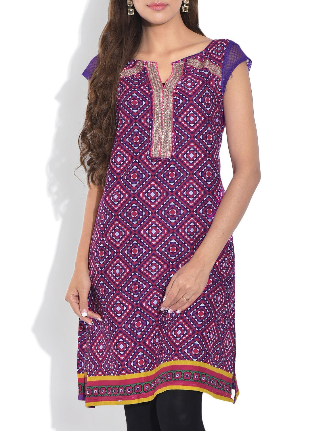 Purple Printed Short Sleeved Cotton Kurti - By