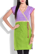 Lilac And Green Short Sleeved Cotton Kurti - By