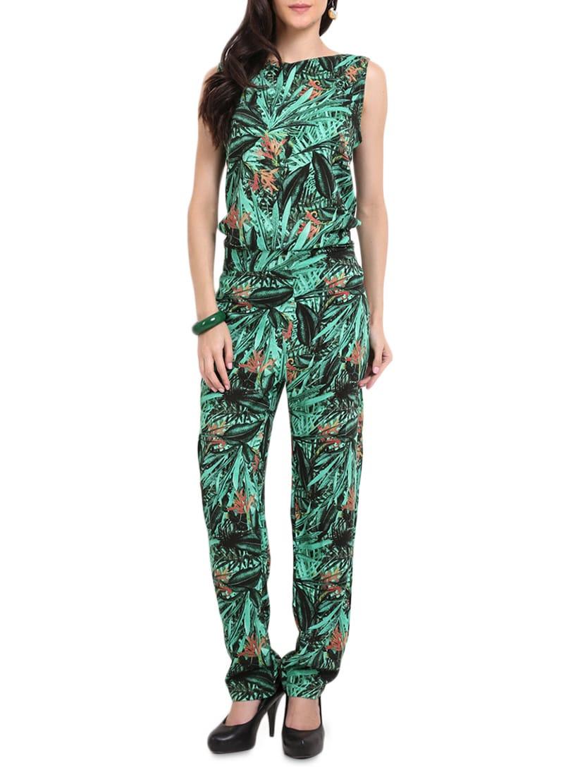 Green Leaf Printed Jumpsuit - Sweet Lemon