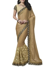 Beige Patch Worked Saree With Checkered Border - By