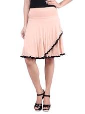 Light Brown Knee Length Viscose Lycra Flared Skirt - By