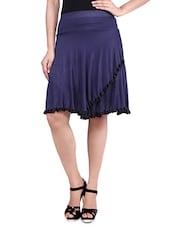 Navy Blue Knee Length Viscose Lycra Flared Skirt - By