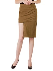 Solid Brown Cutout Cotton Lycra Skirt - By