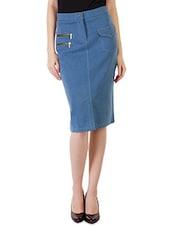Blue Buttoned Front-slit Denim Skirt - By