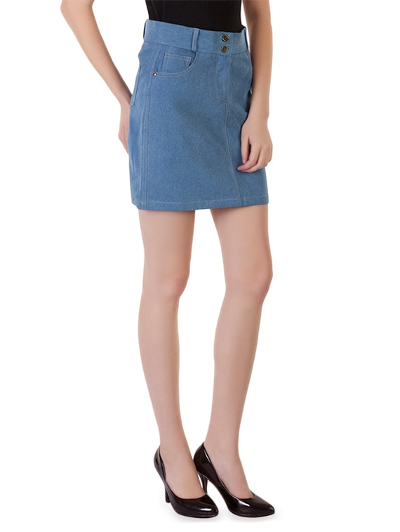9d80959131 Buy Light Blue Buttoned Denim Skirt by Rider Republic - Online shopping for  Skirts in India | 9683515