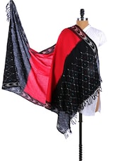Red-Black Color Block  Silk Ikat Dupatta - Dupatta Bazaar