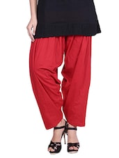 Solid Red Cotton Salwar - By