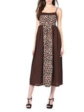 Brown Animal Print Poly Georgette Maxi Dress - Palette