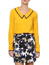 Elegant Bright Yellow  Poly Crepe Top - Palette