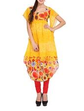 Yellow Printed Long Kurti With Ruffled Sleeves - Lubaba