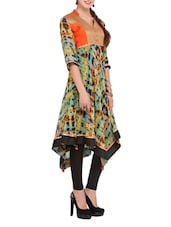 Multicoloured Printed Asymmetrical Kurti - Lubaba