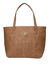 Solid Beige Faux Leather Handbag - By