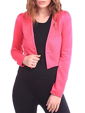 Studded Front Fuchsia Cropped Jacket - By