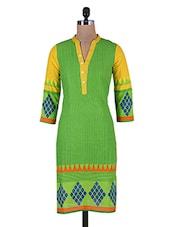 Yellow And Green Printed Cotton Kurta - By - 9687354