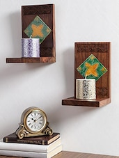Wooden Book End Set with Ceramic Tiles -  online shopping for wooden furniture