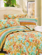 Royal Floral Printed Green Bed Linen With Pillow Covers - Skap