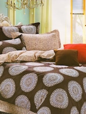 Beautiful Printed Brown Colour Bed Linen With Pillow Covers - Skap