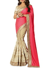 Beige And Peach Embroidered Saree - By