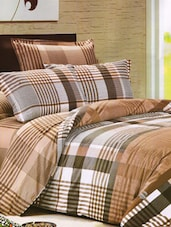 Checkered Print Brown Bed Linen With Pillow Covers - Skap