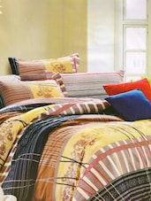 Fabulous Brown Printed Bed Linen With Pillow Covers - Skap