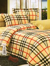 Lovely Brown Checkered Print Bed Linen With Pillow Covers - Skap