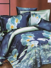 Lovely Blue Floral Printed Bed Linen With Pillow Covers - Skap