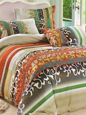 Brown Printed Bed Linen With Pillow Covers - Skap