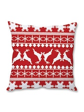 Red And White Christmas Theme Printed Cushion Cover - By