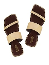 Brown Faux Leather Sandals With Gold Straps - Charu Diva
