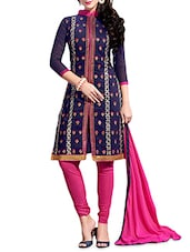 Blue And Pink Embroidered Unstitched Suit Set - By