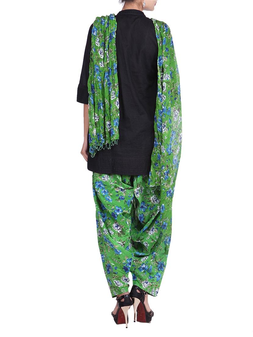 b637167fbbb Green Printed Cotton Patiala And Dupatta Set