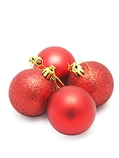 Red Plastic Glitter And Shiny Baubles (24) - By