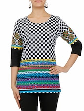Black And White Printed Quarter Sleeved Cotton Kurti - By