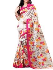 Cream Floral Printed Silk Saree - By