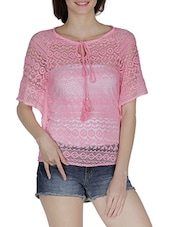 Pink Half Sleeved Net Top - By