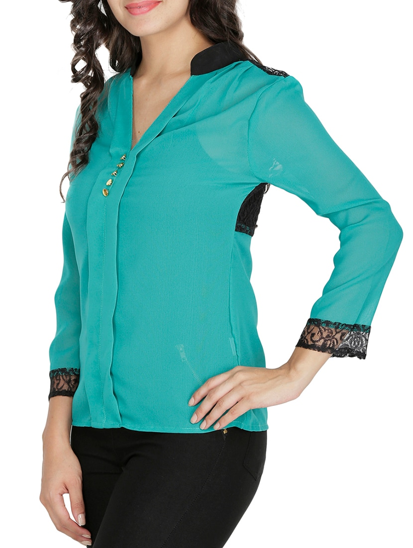 c32a8f1e3833b Buy Green Full Sleeved Georgette Top by Mayra - Online shopping for Tops in  India