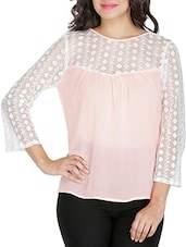 Pink Georgette Top With Lace Yoke And Sleeves - By
