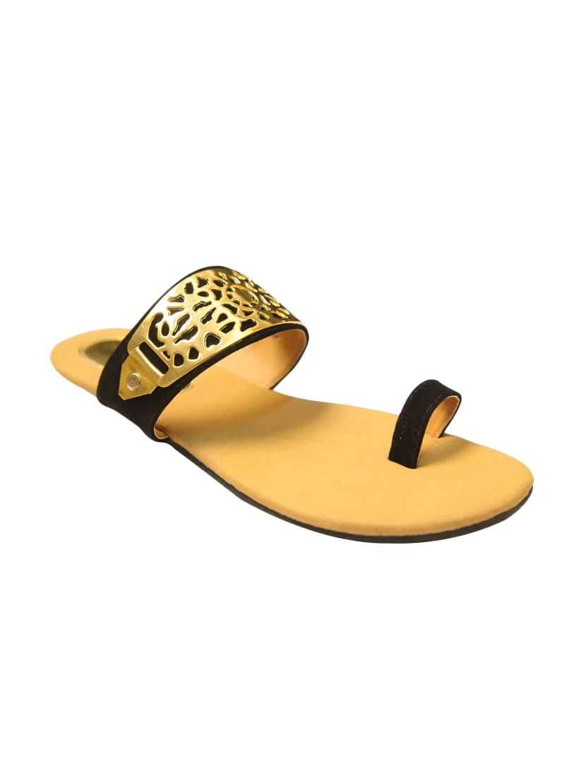 Black, Gold Faux Leather Toe Seperators Sandal - By