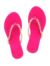 Pink Faux Leather Braided Flip Flop Sandals - By