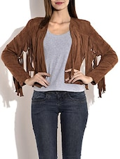Brown Faux Suede Front Fringe Blazer - By
