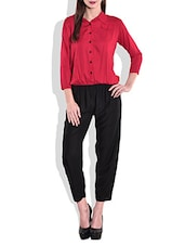 Red And Black Rayon Jumpsuit - By