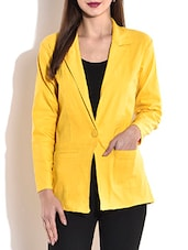Solid Yellow Full Sleeved Blazer - By