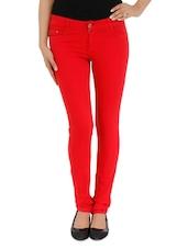 Red Denim Skinny Jeans - By