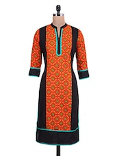 Printed Orange And Black Cotton Kurta - By