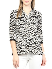 White- Black Colored Printed Cotton Top - By